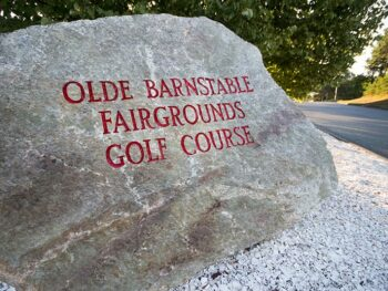 Stone announcing Old Barnstable Fairgrounds Golf Course