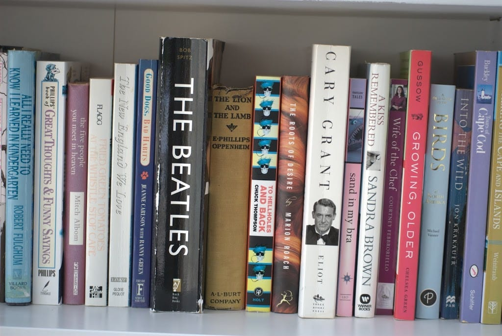Several books on shelf