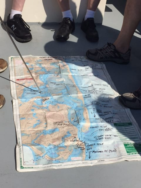 map on ground with people's feet around map