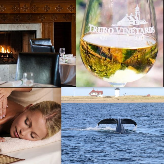 Photo of a fireplace and dining room, a woman getting a massage, a whale's tail and a glass of wine.