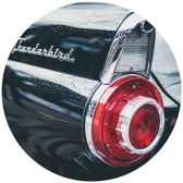 The tail light on a Thunderbird antique car