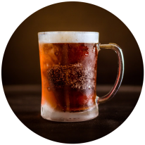 A frosted beer mug