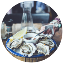 A plate of oysters to be served