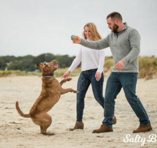 A couple play with their dog on the beach