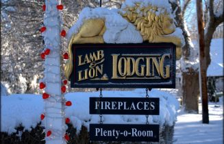 Inn lamb and Lion sign in winter