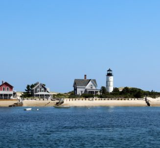 Photo of Sandy Neck lighthouse in Barnstable Harbor.