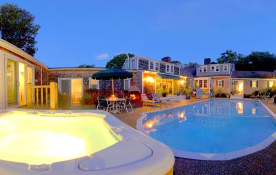 The hot tub and pool at dusk