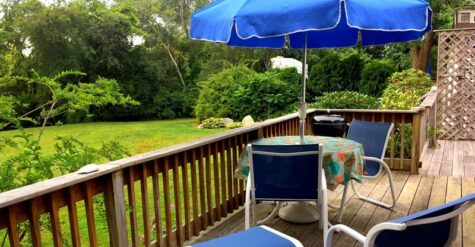 blue chairs and umbrella on the deck overlooking the back yard