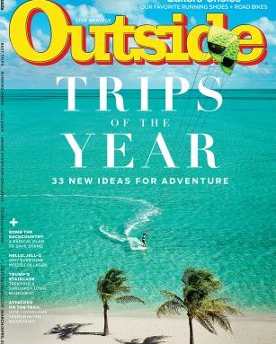 Outside magazine's March cover with ocean and boat