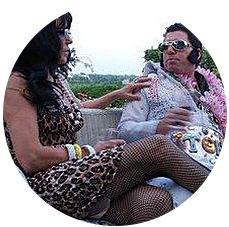 Innkeepers dressed as Elvis and Priscilla