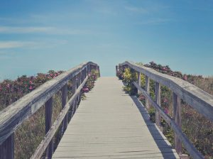 A boardwalk down to the beach