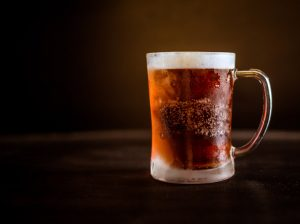 A frosted glass of beer